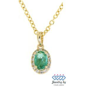 Halo Diamond Emerald Oval Fine Pendant